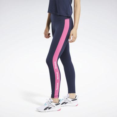 Legging Training Essentials Linear Logo Azul Mulher Fitness & Training