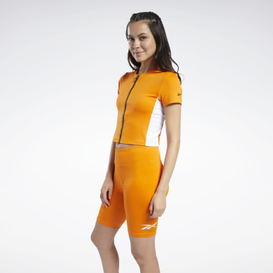 Women Training Orange MYT Zip Crop Top
