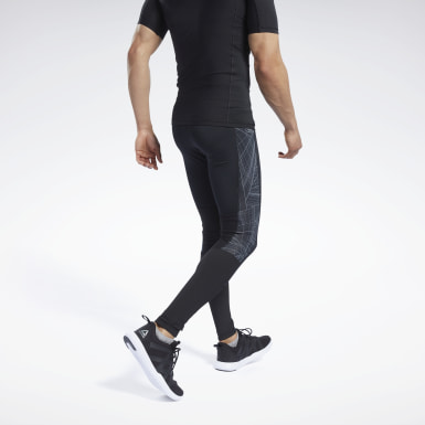 Men Trail Running Black Compression Printed Tights
