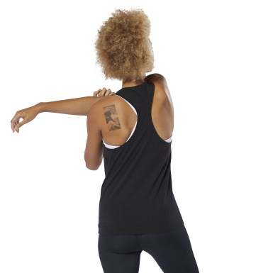 Women Fitness & Training Black Racer Tank Top