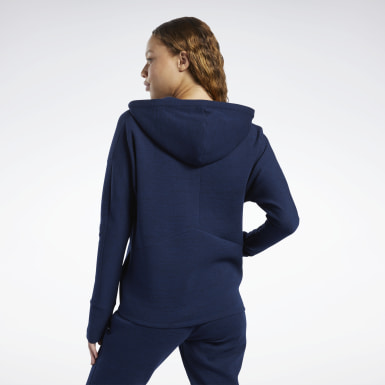 Felpa con cappuccio United by Fitness Doubleknit Full-Zip Blu Donna Fitness & Training