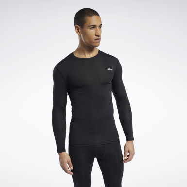 Men Hiking Black Workout Ready Compression Tee