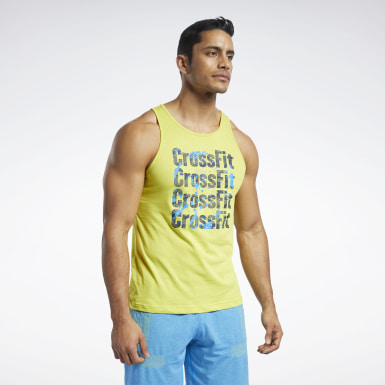 Men Cross Training Yellow Reebok CrossFit® Games Logo Tank Top