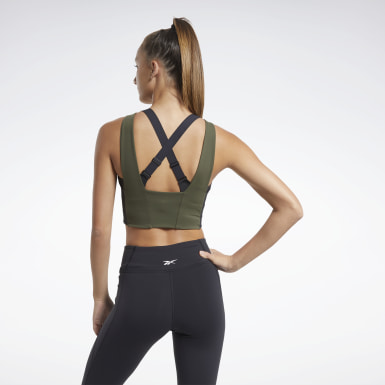 Top Crop Colorblock Verde Donna Ciclismo