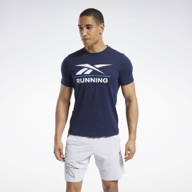 Men Cross Training Blue Reebok Running Tee