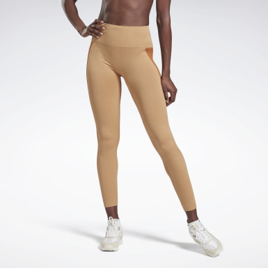 Women Fitness & Training Beige VB Seamless Tights