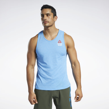 Men Fitness & Training Blue Reebok CrossFit® Games ACTIVCHILL+COTTON Tank Top