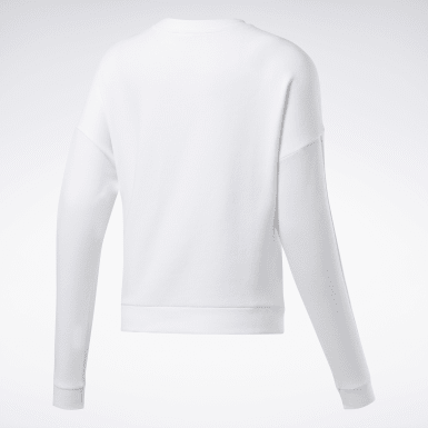Dames Fitness & Training Wit Linear Logo Sweatshirt met Ronde Hals