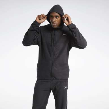 Mænd Hiking Black Workout Ready Fleece Zip-Up Jacket