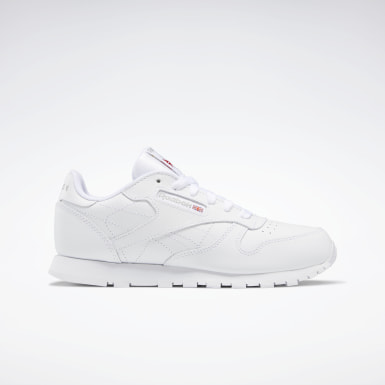 Kids Classics White Classic Leather Shoes - Grade School
