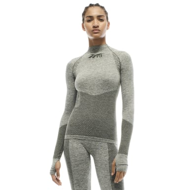 Women Training Green VB Seamless Textured Long Sleeve Top