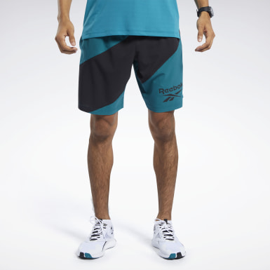 Men Studio Turquoise Workout Ready Graphic Shorts