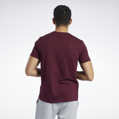 Men Fitness & Training Burgundy Graphic Series Reebok Stacked Tee