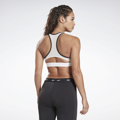 Women Pilates White Reebok Hero Medium-Impact Racer Bra