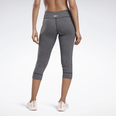 Women Training Grey Reebok Lux 3/4 Length 2 Leggings