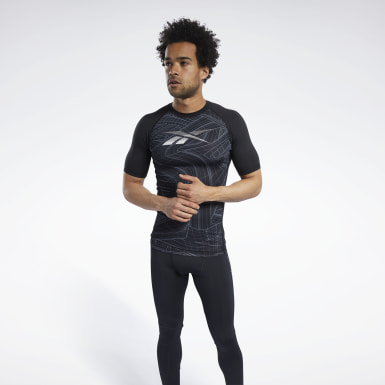 T-shirt Compression Printed Short Sleeve Nero Uomo Trail Running