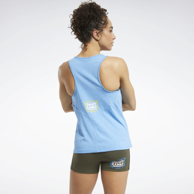 Women Cross Training Blue Reebok CrossFit® ACTIVCHILL+COTTON Tank Top