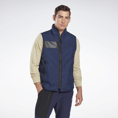 Men Outdoor Blue Outerwear Core Sherpa Woven Vest
