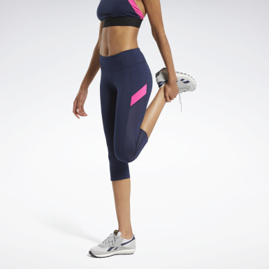 Dames Wielrennen Blauw Workout Ready Mesh Capri Legging