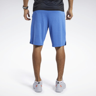 Men Studio Blue Workout Ready Melange Shorts