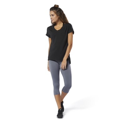 Women Fitness & Training Black WOR Supremium Detail Tee