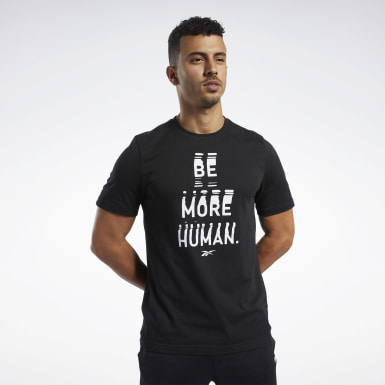 Polo De Cuello Redondo Graphic Series Be More Human Negro Hombre Running