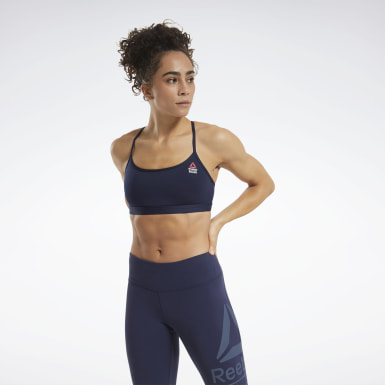 Women Training Blue CrossFit® Skinny Strap Read Medium-Impact Bra