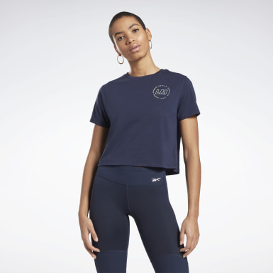 Women Studio Blue Les Mills® Cropped T-Shirt