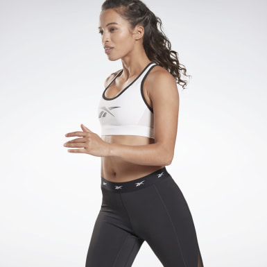 Women Yoga White Reebok Hero Medium-Impact Racer Bra