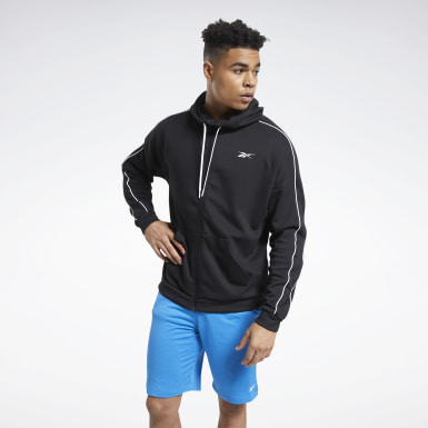 Men Outdoor Black Workout Ready Full-Zip Hooded Jacket