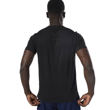 Men Training Black Stamped Logo Crew Tee