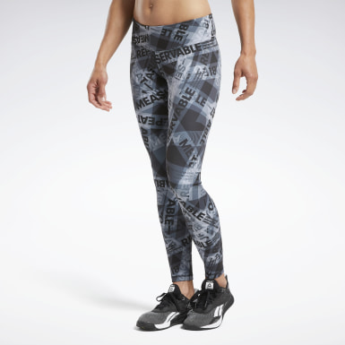 Women Cross Training Black Reebok CrossFit® Lux Bold Taped Print Leggings