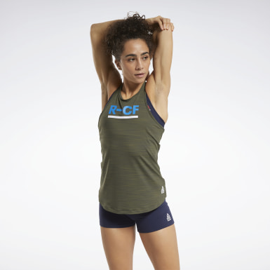 Camiseta sin mangas CrossFit® ACTIVCHILL Verde Mujer Cross Training