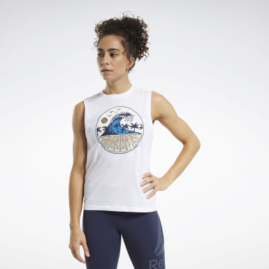 Camiseta sin mangas CrossFit® Tidal Wave Blanco Mujer Cross Training