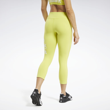 Women Training Yellow Reebok CrossFit® Lux 3/4 Large Branded Tights