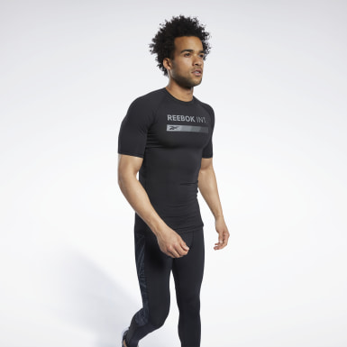 Men Hiking Black Compression Graphic Short Sleeve Tee