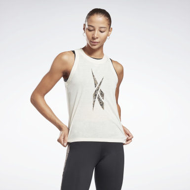 Women Fitness & Training White Modern Safari Big Logo Tank Top