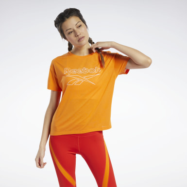 Women Hiking Orange Workout Ready Supremium Slim Fit Big Logo Tee