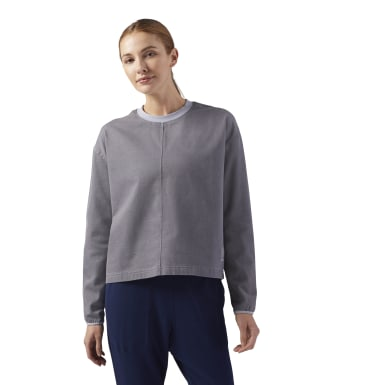 Women Classics Grey Cropped Denim Sweatshirt