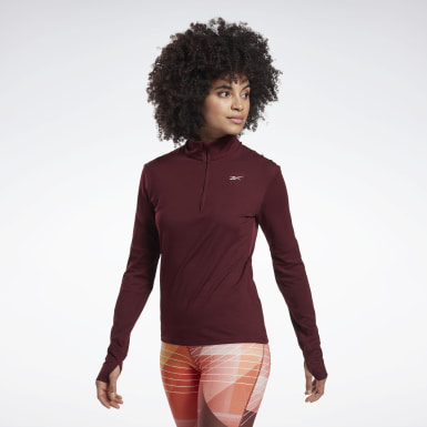 Women Running Burgundy Running Essentials Quarter-Zip Top