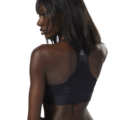 Women Running Black Reebok Running Bra