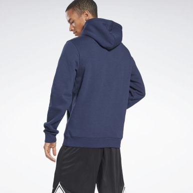 Men Fitness & Training Blue Reebok Identity Fleece Hoodie