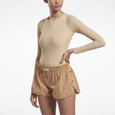 Women Fitness & Training Beige VB Long Sleeve Bodysuit