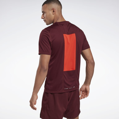 T-shirt Running Essentials Burgundy Hommes Course