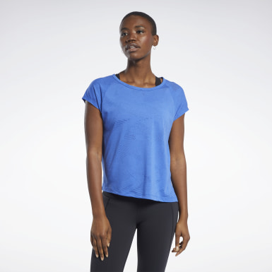 Dames Yoga Blauw Burnout T-shirt