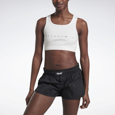 Dames Fitness & Training Wit VB Ribbed Croptop