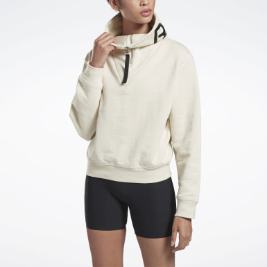 Women Training White VB Cropped Cowl