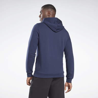 Men Fitness & Training Blue Reebok Identity Big Logo Hoodie