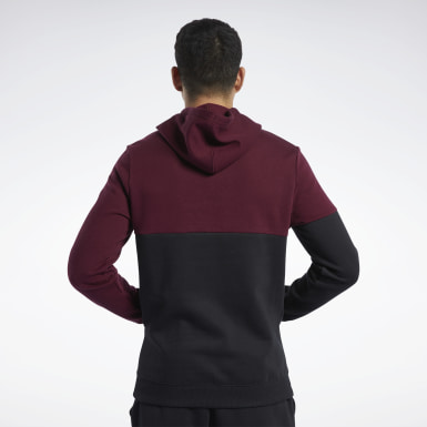Sudadera Training Essentials Logo Burgundy Hombre Fitness & Training