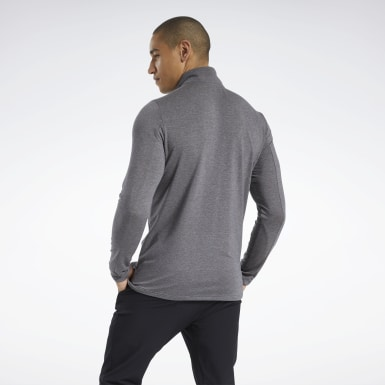 Men Trail Running Black Activchill+Cotton Quarter-Zip Top